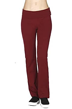 Vina Vino Womens Plus Size Solid Casual Workout Active Yoga Pants 2XL BURGUNDY