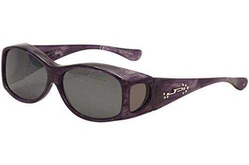 Fitovers Eyewear Glides Sunglasses with Swarovski Elements on Temples (Purple Haze, Gray)