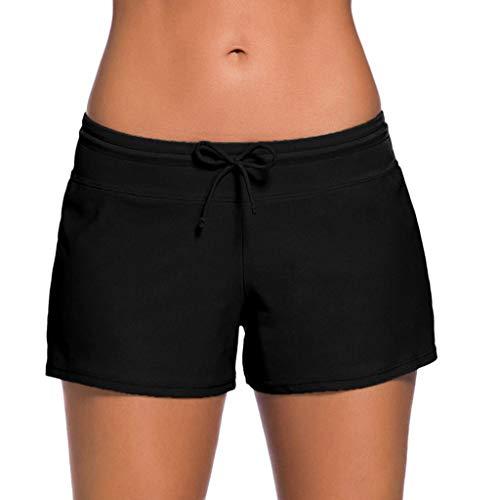 Peize Women Swimsuit Shorts Tankini Swim Briefs Plus Size Bottom Boardshort Summer Swimwear Beach Trunks for Girls Black