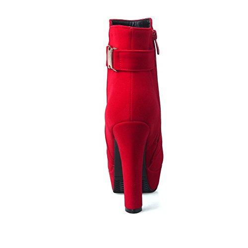 Allhqfashion Womens Tacco Chiuso Tacco Alto Smerigliato Stivaletti Basso Rosso Pieno