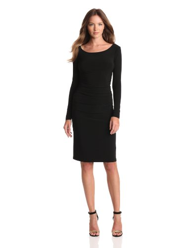 KAMALIKULTURE Women's Long Sleeve Shirred Waist Dress, Black, - Shopbop Designers