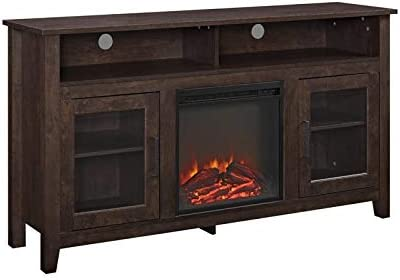 Pemberly Row 58″ Tall Electric Fireplace TV Stand Console Highboy Rustic Wood