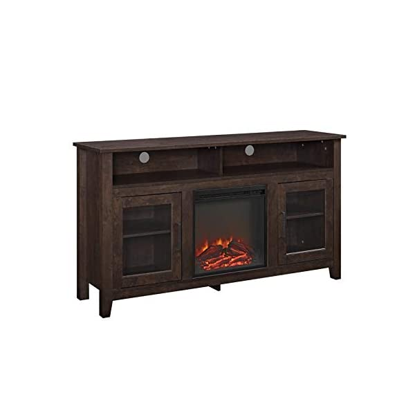 """Pemberly Row 58"""" Tall Electric Fireplace TV Stand Console Highboy Rustic Wood with Glass Storage, for TV's up to 64"""", in Brown"""