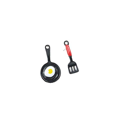 YINLIN Tiny Spatula Fried Egg Earring Funny Kitchen Tools Jewelry(fried egg)