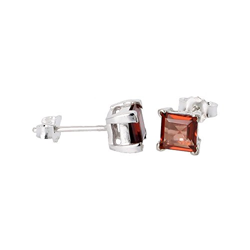 Square Princess Cut Natural (January Birthstone, Natural Garnet 3/4 Carat (5 mm) Size Princess Cut Square Stud Earrings in Sterling Silver Basket Setting)