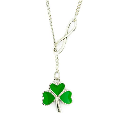 Soul Statement Shamrock Necklace St Patrick's Day Accessories for Women Lucky Infinity 4-Leaf Clover Charm Pendant (Shamrock Infinity)