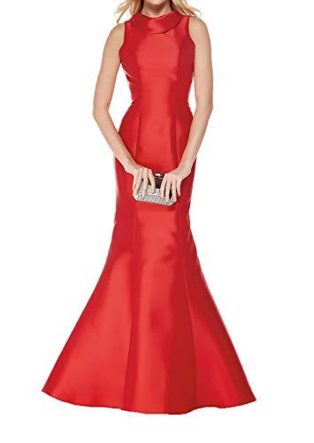 Meerjungfrau Ballkleider Etuikleider Damen Satin Einfach Figurbetont Lang Partykleider Rot Abendkleider Charmant ATPYpxwqg
