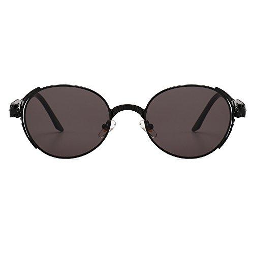 Steampunk de anteojos Negro Sol UV400 Ovalada Gafas Mujeres Hombres Steampunk TL Metal de Dorado de Sunglasses Forma Hombre Bastidor del BHz7WU