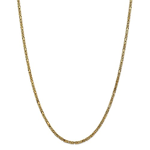 ICE CARATS 14kt Yellow Gold 2.5mm Link Byzantine Necklace Chain Pendant Charm Fine Jewelry Ideal Gifts For Women Gift Set From Heart 14kt Gold Byzantine Necklace