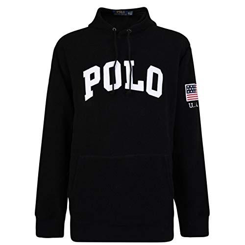 Sweatshirt Terry Hooded - Polo Ralph Lauren Men's Black Terry Towel Hooded Sweatshirt (Black, Medium)