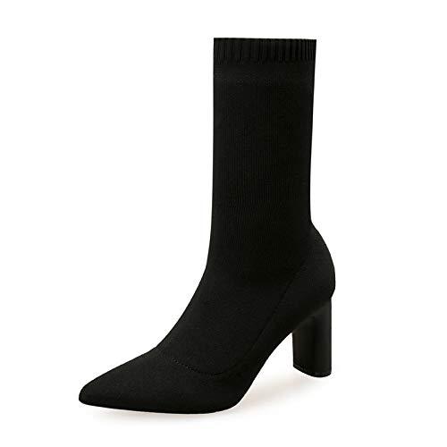 E Otoño Botas Gruesas Black Con Elásticas Tacón Tubo Women's Mujer Punto De Alto Invierno Calcetines Hoesczs YwgTpRpX