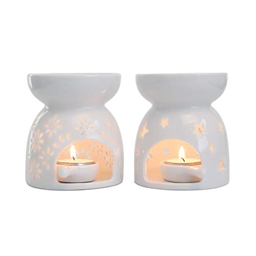 T4U Ceramic Tealight Candle Holder Oil Burner, Essential Oil Incense Aroma Diffuser Furnace Home Decoration Romantic Gift White Set of 2