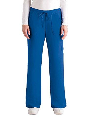 Grey's Anatomy Women's 4245 Junior Fit 4-Pocket Elastic Back Scrub Pants, New Royal, Large