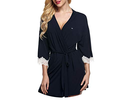 Pursuit-of-self Women Sleepwear Nightwear Kimono Robe Soild Winter,Dark Blue,XXL