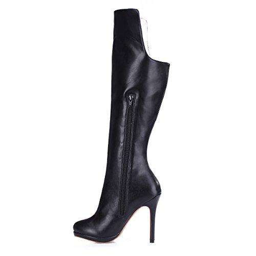 nero new Ladies alto a tacco elegante impermeabile stivali inverno popular Sexy alti Boot xYpn1FO