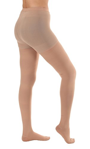 Opaque Graduated Compression Pantyhose, Support Hose Pantyhose - 20-30mmHg Graduated Medical Compression, Color Beige, Size Large, SKU A204BE3 - Absolute Support Brand, Made in The USA