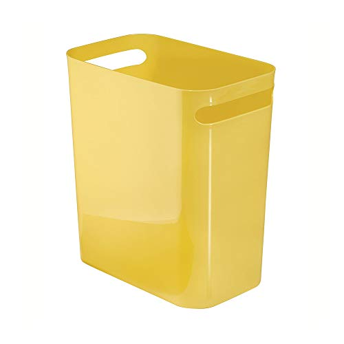 iDesign Una Rectangular Trash Can with Handles, Waste Basket Garbage Can for Bathroom, Bedroom, Home Office, Dorm, College, 12-Inch, Yellow (Yellow Trash Can For Bedroom)