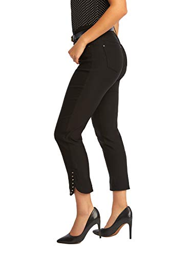 89th + Madison Women's Studded Cuff Stretch Straight Leg Pants Black