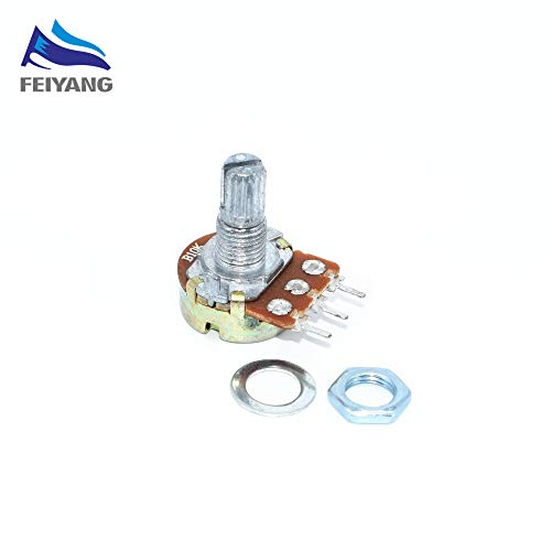 Value-Trade-Inc - 10PCS WH148 3pin B1K B2K B5K B10K B20K B50K B100K B250K B500K B1M Linear Potentiometer 15mm Shaft With Nuts And Washers
