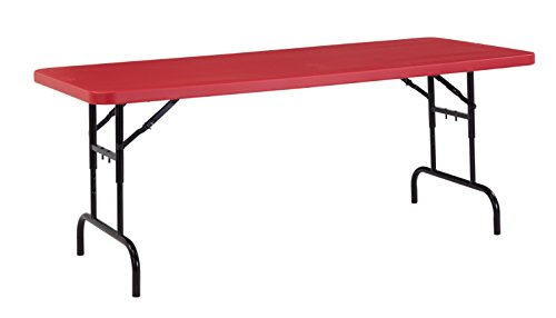 NPS 30 x 72 Height Adjustable Heavy Duty Folding Table, RED, 1,000 lb Capacity ()