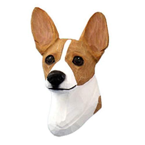 Ky & Co YesKela Rat Terrier Head Plaque Figurine Red/White - Terrier Rat Figurine