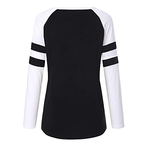 Paillettes imprim Noir col de kingwo Rond No l T de Shirt Femme Applique Rennes Top 11z7x