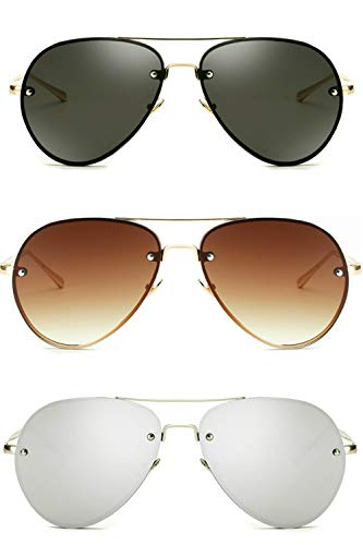 Oversized Aviator Sunglasses Vintage Retro Gold Metal Frame Colorful Lenses 62mm (Classic Trio: Black+Brown+Silver, ()
