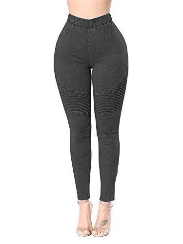 Aodrusa Womens Skinny Jeans Leggings High Waisted Stretch Denim Butt Lift Pencil Jeggings Grey US 14-16 (Denim Butt Lift)