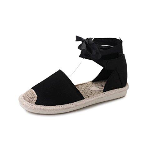 Transer® Damen Flach Sandalen Baumwollstoff+Kunststoff Schnüren Ankle-strap Weiß Schwarz Blau Party Outdoor Unternehmen Schuhe Gr.35-40 Schwarz