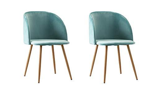 (2 Piece Mid Century Modern Velvet Armless Minimalist Accent Dinning Chair (Turquoise) )