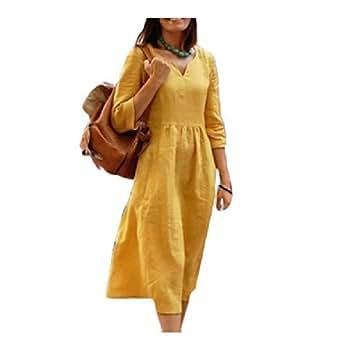 Howely Women Linen&Cotton Ethnic Floral Plus Size Casual Autumn Midi Dress 1 S