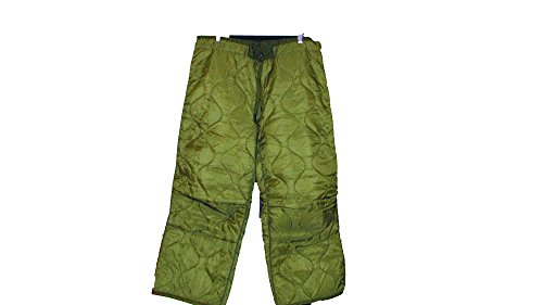 U.S. Government Contractor Military Field Pant Liner for Cold Weather Trousers - Quilted - Olive Drab Green - Genuine Army Issue (Medium Short/Regular)