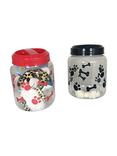 BPA-Free Plastic Airtight Dog Treat & Food Storage Containers Canisters Black & Red Paw & Bone Print (Set of 2)