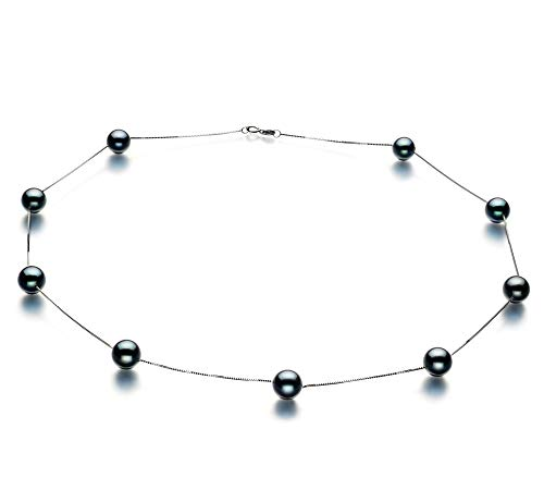 - Tin Cup Black 7-8mm AAA Quality Japanese Akoya 14K White Gold Cultured Pearl Necklace For Women