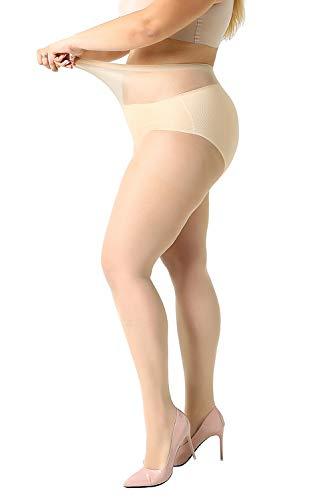MANZI Women's 2-4 Pairs Plus Size Control Top Ultra-Soft Pantyhose Tights ()
