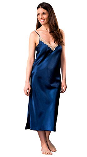 (Shadowline Silky Ballet Nightgown, Navy, Large)