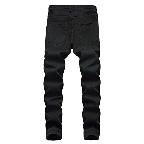 Regular Uomo Denim pantaloni Di Casual Elasticizzato Strappato Fit Dritte Color Slim Con Yanhoo Cotone Uomo Tasche Autunno In Da Formali pantaloni Pantaloni Nero Jeans Fit IpKt6wq0