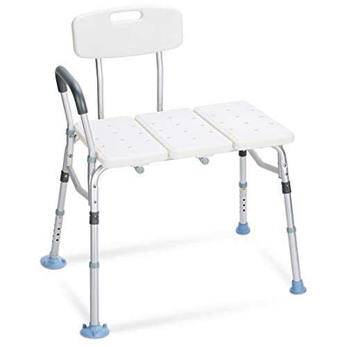 OasisSpace Tub Transfer Bench 400 lb - Heavy Duty Bath & Shower Transfer Bench - Adjustable Handicap Shower Chair with Reversible Backrest Medical Bathroom Aid for Disabled, Seniors, ()