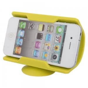Cell Accessory Flexible Silicone Stand Holder for iPhone 4/4S Yellow-green