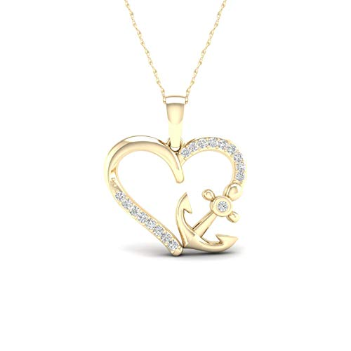 10K Yellow Gold Diamond Heart Anchor Pendant Necklace 18inch(0.11 ct / I2,H-I)