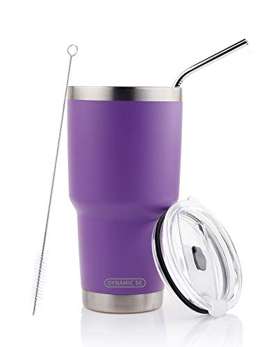 DYNAMIC SE 30oz Tumbler Double Wall Stainless Steel Vacuum Insulated Travel Mug with Splash-Proof Lid Metal Straw and Brush (PURPLE)