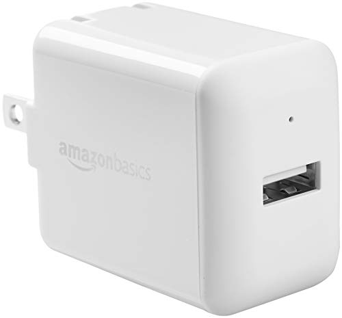 - AmazonBasics One-Port USB Wall Charger for Phone, iPad, and Tablet, 2.4 Amp, White