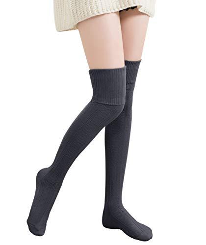 889d54b67 Chalier Womens Long Striped Socks Over Knee Thigh High Socks Stockings