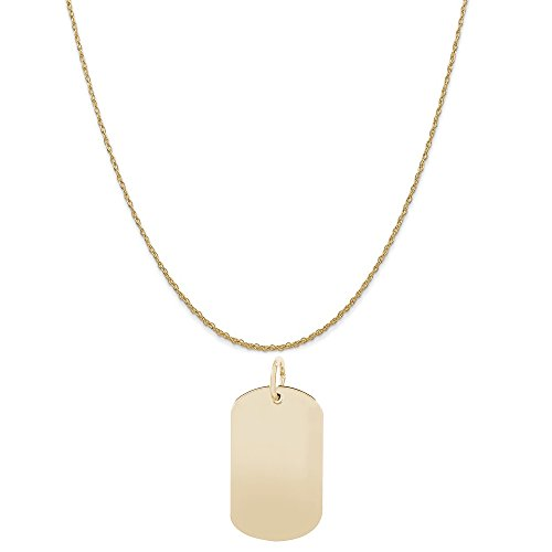 Rembrandt Charms 10K Yellow Gold Dog Tag Accent Charm on a 10K Yellow Gold Rope Chain Necklace, 20