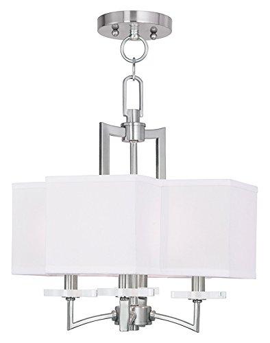 (Livex Lighting 50704-91 Woodland Park 4-Light Convertible Mini Chandelier/Ceiling Mount, Brushed Nickel )