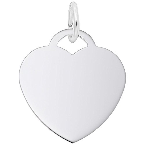 Rembrandt Charms, Classic Medium Heart.5mm Thick.925 Sterling Silver, (Heart Shaped Sterling Silver Charm)