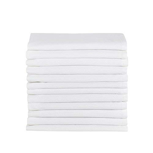 DG Collections Cotton Dinner Napkins White, Set of 12 (20 x 20 Inches), Over Sized, for Embroidery and Print, Lint Free, Quick Dry, Hemmed with Mitered Corners
