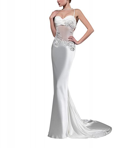Abendkleid Chiffon Riemen Zug Weiß Sweep mit Applikationen Perlen Meerjungfrau Pinsel GEORGE Mantel BRIDE Hqtw8w0