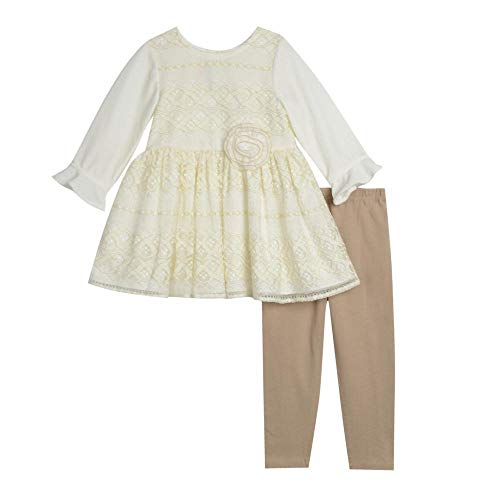 Pastourelle by Pippa & Julie Baby Girls Clothing Set with Specialty Tunic and Leggings, Ivory/Gold, 0/3M