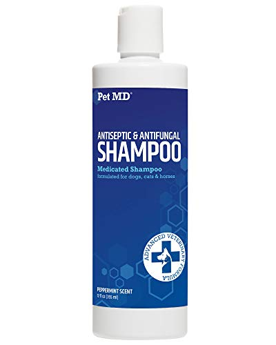 Pet MD Medicated Shampoo for Dogs, Cats, Horses with Ketoconazole & Chlorhexidine - Antifungal & Antiseptic Shampoo for The Treatment of Ringworm, Yeast Infections, Acne, Mange & Hot Spots - 12 oz